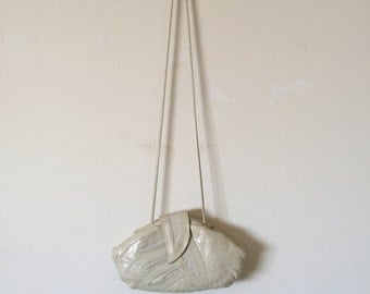 leather cream crossbody purse / handbag /