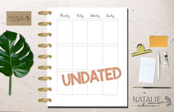 Happy Planner Calendar Insert Happy Planner UNDATED Calendar