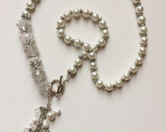 Necklace white pearls and Crystal - C - 01 MB