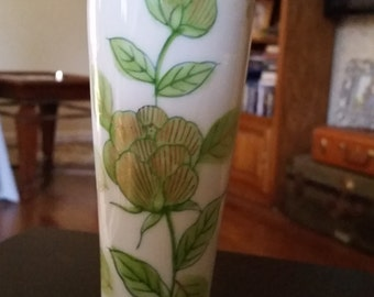 Vintage Green Flowered Vase