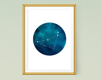 Capricorn constellation art, Zodiac Capricorn, Printable poster, Capricorn art print