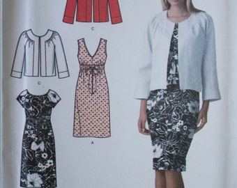 Sewing pattern womens easy chic dress Simplicity 3874 UNCUT Size 8-16 (Bust 31.5-38), straight dress and jacket