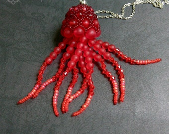 Red jellyfish or octopus necklace - jellyfish jewelry, jellyfish art, jelly fish, octopus, sea necklace, mermaid, squid,unique jewelry