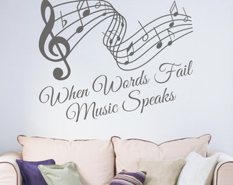 When Words Fail Music Speaks Vinyl Wall Art Sticker Decal Living Room Music Room Bedroom