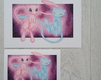Mew and Shiny Mew Pokemon Print - Two sizes available