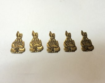 Brass Stamping - Easter Bunny - Set of 5