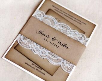 Rustic Wedding Invitation, Wedding Invitation with Lace, Kraft, Barn Wedding Invitaitons, Shabby Chic, Invitations Rustic, Burlap and Lace