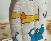 """Oven-backing glove/diner oven-mitts/BBQ gloves/pottholder """"Happy dog """" linen (6,3"""" x 5""""), Mothers day/Fathers day/Easter/gift"""