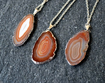 Agate necklace agate slice necklace agate pendant long boho necklace for mom Raw Crystal necklace Gift Gemstone necklace statement necklace