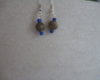 Blue Glass and Bronze Circle Dangle Earrings