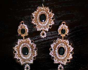 Gorgeous Gold Plated Earring and Tikka Jewelry Set