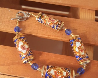 Royal blue Asian design bracelet hand enameled stunning