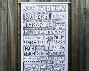 Surfers Paradise Fabric Wall Hanging Travel Art
