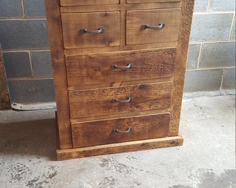 Solid wood rustic chunky multi chest of drawers 7 drawer wooden chest