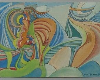 pino Sguero, 1931-, Abstract gouache, Milan