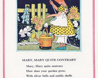 Mary Mary Quite Contrary, Vintage 1930s Childrens Book Illustration, Digital Print, Instant Digital Download