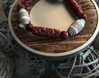 Red and white fun bracelet