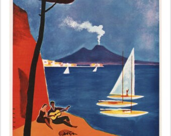 vintage NAPLES travel POSTER Mario Puppo Italy 1960 Beautiful Seaside 24X36