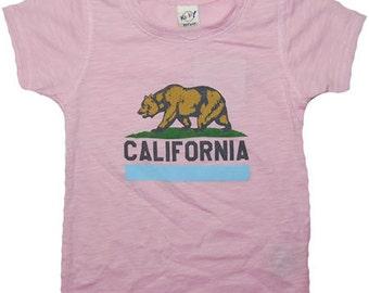 California Bear Pink Short Sleeve Burnout Tee