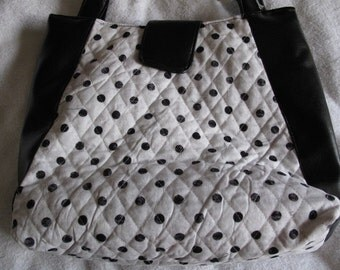 Quilted Handmade Handbag - Black and White polka dots