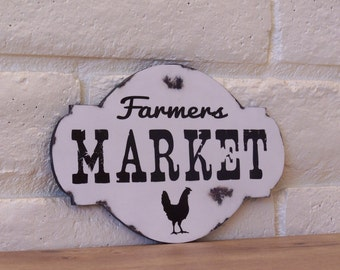 Farmers Market Wood Sign, Rustic, Distressed, Farmhouse, Home Decor, Kitchen, Chicken, Country Kitchen, Gift