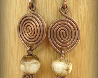 Copper spiral earrings, Wire wrapped, Copper wrapped, Bead and copper earrings