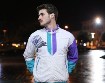 """Vintage Retro tracksuit ful zipped 1990s """"PUMA"""" Davis Cup Tennis sweater sweater white, green and violet with retro logo Taglia/Size: L"""