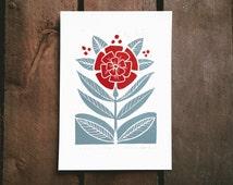 "Original Linocut print  ""Flower"" folk art inspired,  A5 small wall poster, Limited edition art, handmade by Alexandra Dvornikova"