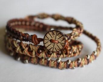 3 wrap beaded bracelet // Brown wrap bracelet // 5 stitch bracelet // macrame wrap bracelet with beads // color options available