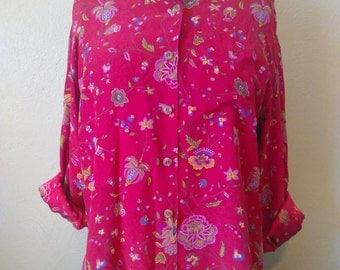 Vintage Red Silk Liz Claiborne Top, Vintage Silk Blouse, Button Up Liz Claiborne Blouse