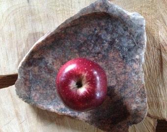 Stone plate, stone platter stone serving tray, top rock, stone centerpiece, stone veggie tray, fieldstone art