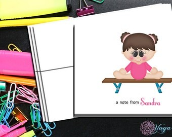 Gymnastics Note Cards / Custom gymnast Stationery / Girl Stationery Set / Custom Girl Thank You Cards / Set of 12 Kid Notes