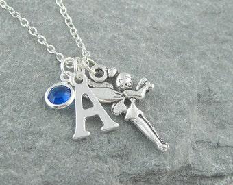 Fairy necklace, personalized jewelry, initial necklace, swarovski birthstone, silver fairy, gift for her, birthstone jewelry