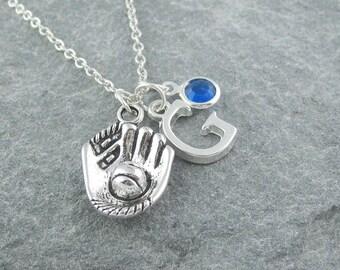 Baseball necklace, silver baseball pendant, initial necklace, swarovski birthstone, baseball mom, baseball fan gift, sports jewelry