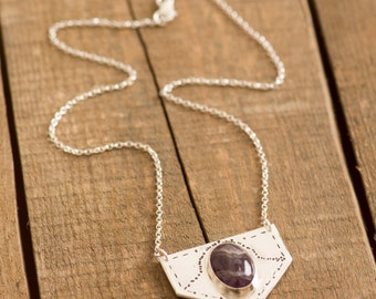 Amethyst Shield Necklace, Handmade from Sterling Silver