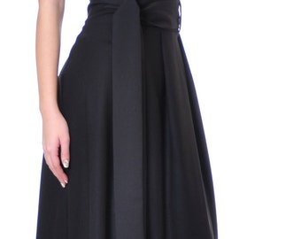 Plus Size Maxi Skirt, Black Long Skirt, High Waist Skirt Belt, Black Formal Skirt, Black Cotton Skirt, Party Maxi Skirt, Danellys D14.03.01