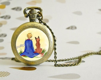 Le Prince et le Renard - Pocket Watch - Victorian Steampunk style - Glass cabochon - Special Easy gift