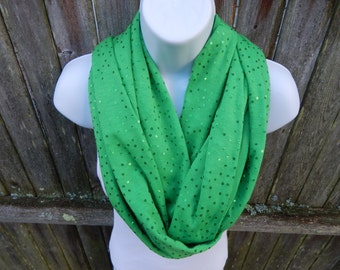 Green Sparkles Infinity Scarf