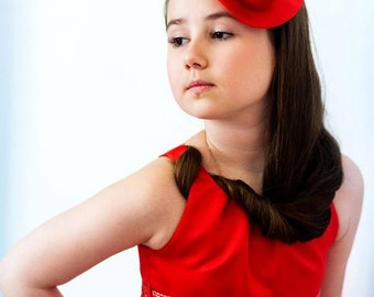 Modern Red Fascinator Derby  Mini Hat, Red headpiece , Fashion Millinery Mini Hat
