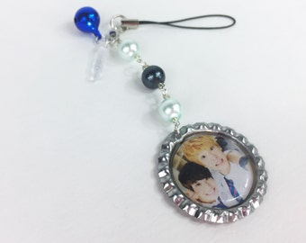 Astro MJ and Sanha kpop cell phone charm with two way phone strap and dust plug