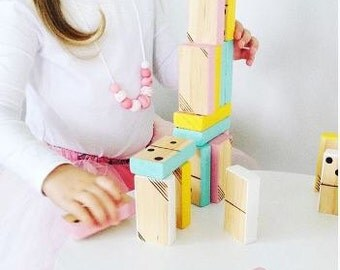 "Wooden Dominoes - ""Liquorice Allsorts"" Pastel Painted - NOVEMBER PRE ORDER"