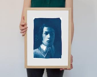 Cyanotype Print, Boy from De La Tour Painting on Watercolor Paper, A4 size