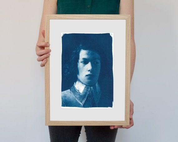 Portrait of Boy from De La Tour, Cyanotype Print on Watercolor Paper, A4 size