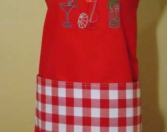 Embroidered Chef's Apron - Cafe' Red