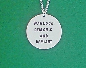 necklace- gamer necklace- warlock: demonic and defiant- geek necklace