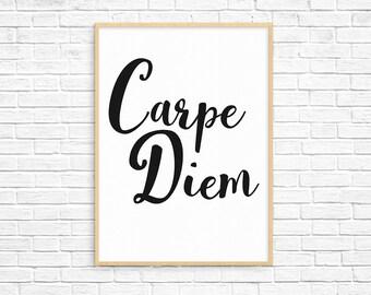 Carpe Diem Print, Carpe Diem Sign, Motivational Print, Typography Print, Carpe Diem Art Poster, Paris Room Decor, Digital Print, Home Decor