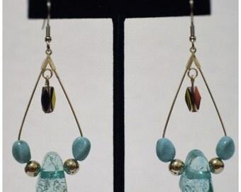 Turquoise and Silver Teardrop Hoop Earrings