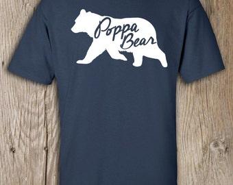 Poppa Bear T Shirt - Mens Crew neck - Poppa Bear Tshirt for men