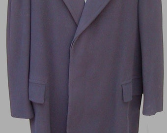 Size 42 1950s Long Navy Blue Wool Overcoat