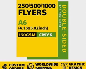250/500/1000 pcs A6 flyers. Single or double-sided. CMYK